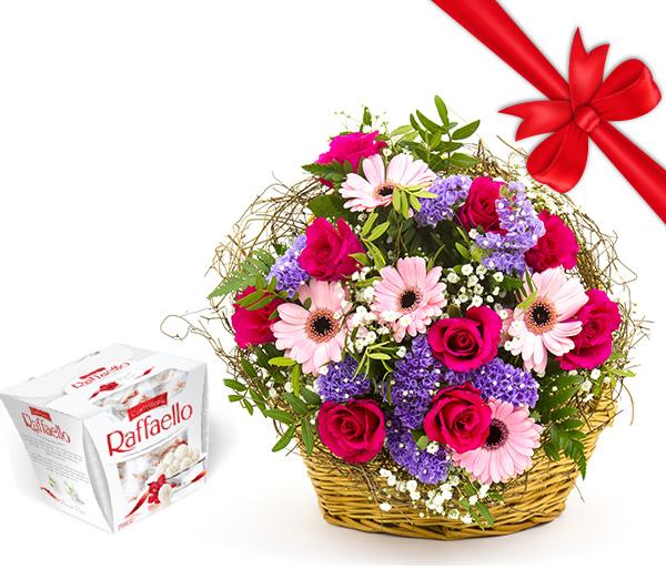 Värvirikas lillekorv kingitusega